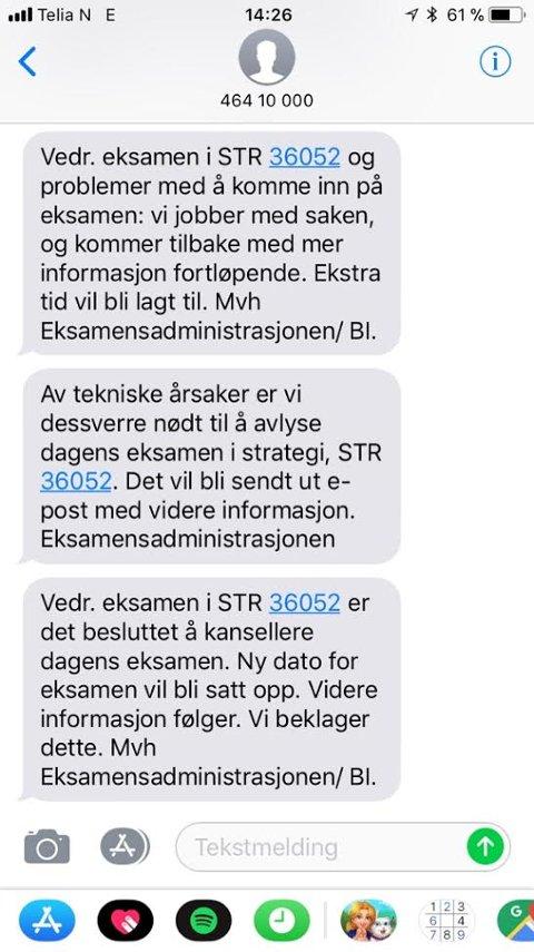 Disse SMSene ble i tur og orden sendt til studentene under eksamen.