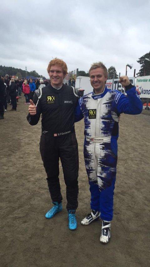 Solunger på pallen: Ben-Philip Gundersen og Espen Isaksætre endte på henholdsvis 1. og 3. plass i NM i rallycross.