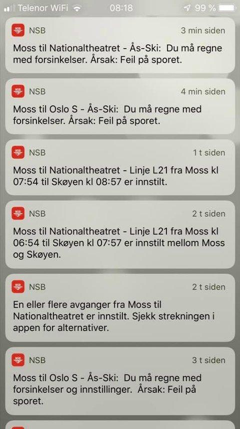 TØFF PENDLER-MORGEN: Det ble en tøff start på onsdagen for en del mossependlere da flere togavganger fra Moss ble innstilt som følge av problemer med en sporveskler på Ski.