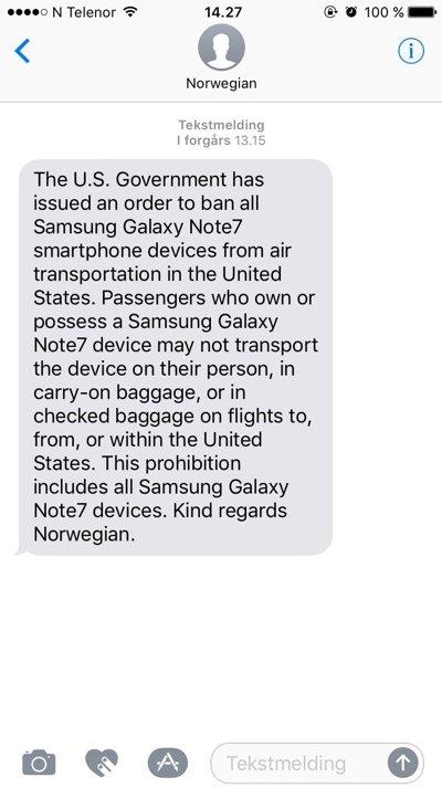 Denne meldingen sender Norwegian ut til sine kunder som skal ut og fly til USA.
