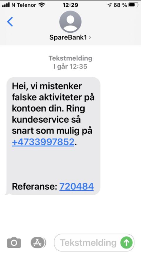 Svindel: Dette er en SMS det nå advares mot.
