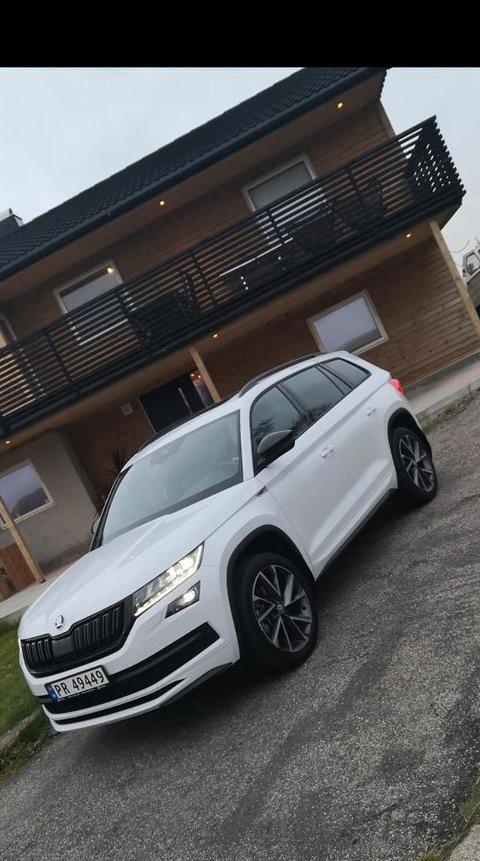 STJÅLET: Denne bilen ble stjålet natt til onsdag. Linn Iren Tyrhaug laget et innlegg på sosiale medier hvor hun etterlyste bilen.