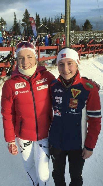 TOPPLØPERE: Emilie Ågheim Kalkenberg (t.v.) og Marthe Kråkstad Johansen er to av landets største skiskyttertalenter.