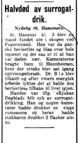 HALVDØD: Notis.  Teledølen  28.juni 1920. (alle annonser/notiser foto T.N)