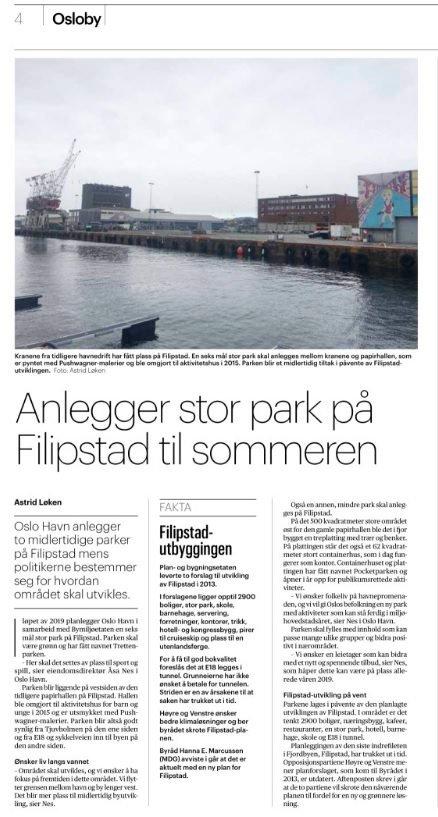 HAVNEPARK I OSLO: Faksimile fra Aftenposten 13. mars i år.