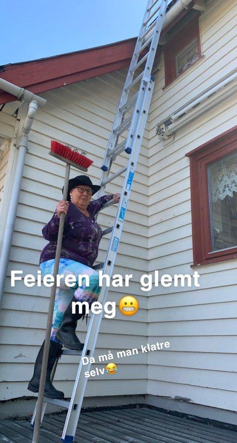 Glimt i øyet: Anfrid Heimly sitt barnebarn tok dette bildet før de tok ned stigen på Lørdag. Foto: Privat.