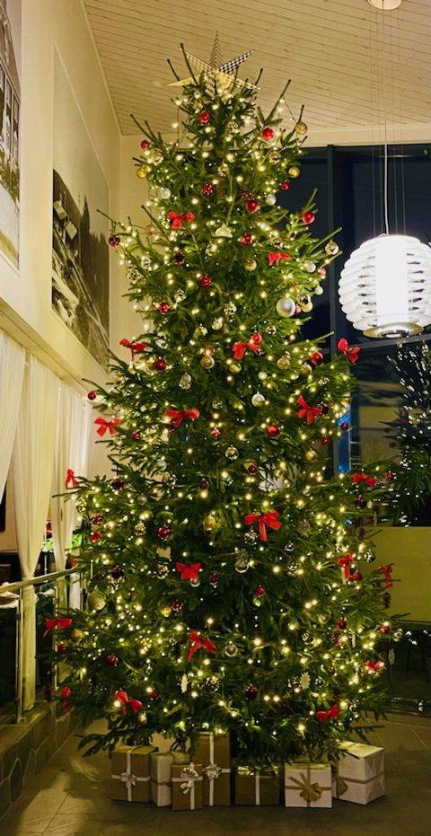 Treet på nesten fem meter står klart til jul, og har fått mye oppmerksomhet fra kundene