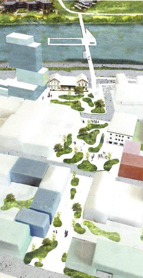 GRØNNE ROM: Alle de tre arkitektkontorene foreslår ei linje med grønne lunger fra stasjonsområdet og med gode koblinger videre oppover mot Puttara. Denne skissen er laget av Transborder Studio og MDH Arkitekter.