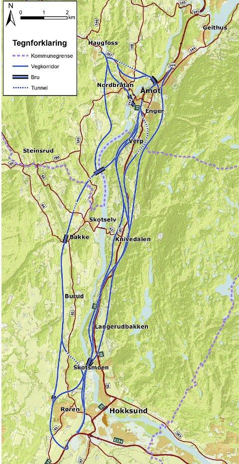 RV. 35: De blå strekene viser hvor veivesenet ser for seg plasseringen av alternativene til ny rv. 35, samt hvor avkjøringsveien til Sigdal kan bli plassert.Illustrasjon: Statens vegvesen