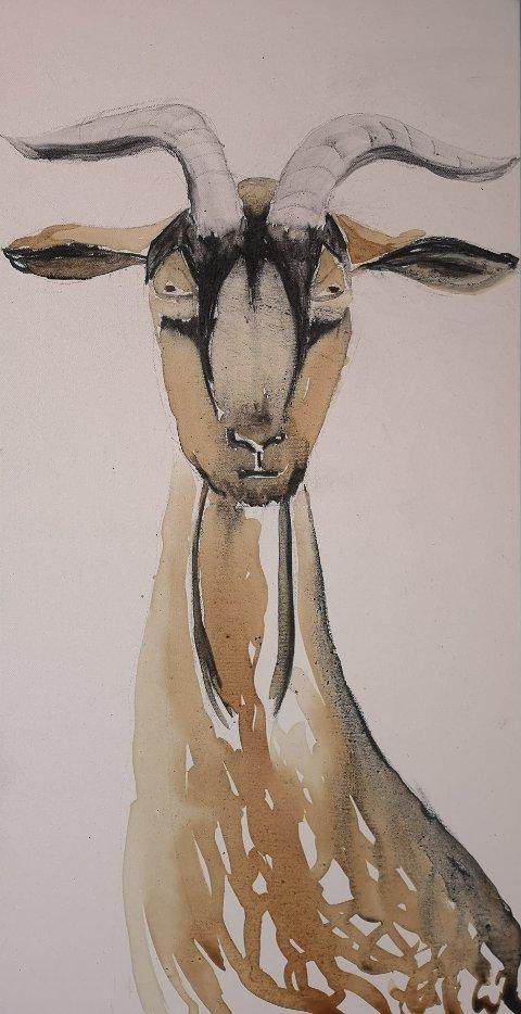 Et av maleriene av billedkunstner Nina Dreyer Henjum som vises ved høstutstillingen ved Kaussetra