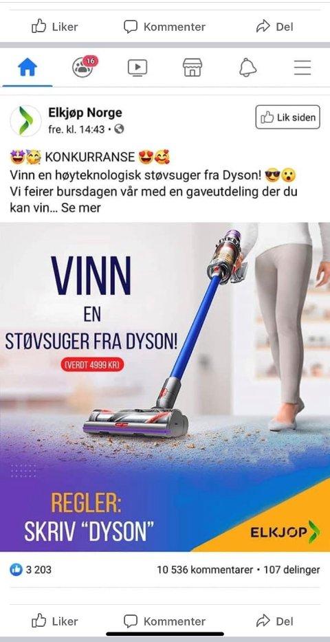 """FALSK SIDE: På den falske Elkjøp-siden """"Elkjøp Norge"""" på Facebook har mer enn 11.000 personer latt seg lure og klikket på denne lenken. Elkjøps Facebook-side heter kun """"Elkjøp""""."""