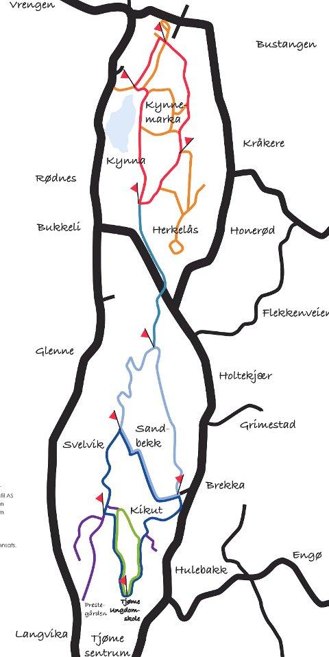 Slik ser Løypeguttas kart ut.