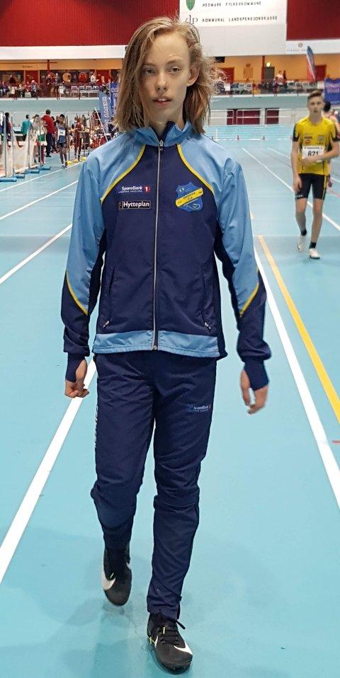 Valentin Jensen rett før 60m finalen, full konsentrasjon