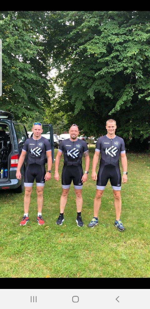 PRESTERTE: De lokale utøverne Alf Johnny Egenes (til venstre), Arno Audenaert og Sverre Egaas oppnådde gode plasseringer i Hove Triathlon.