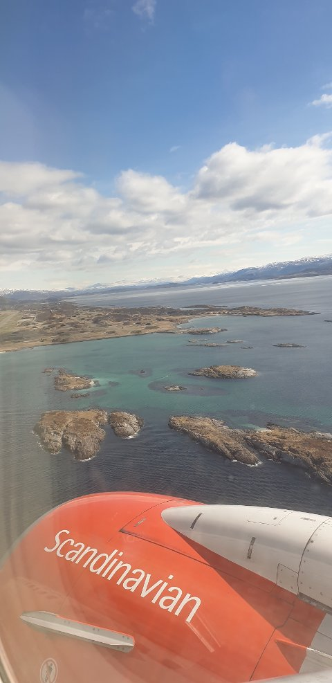 Flybilde tatt ved landing i Bodø