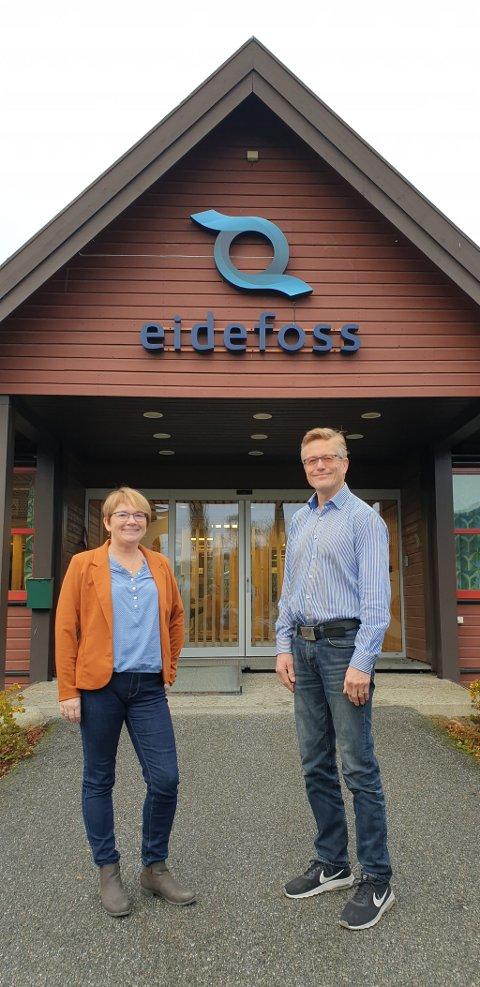 Lene Vassdokken og Hans Kolden inviterer folk flest til å tenke kreativt og komme med forslag til nytt navn til selskapet Eidefoss Nett AS.