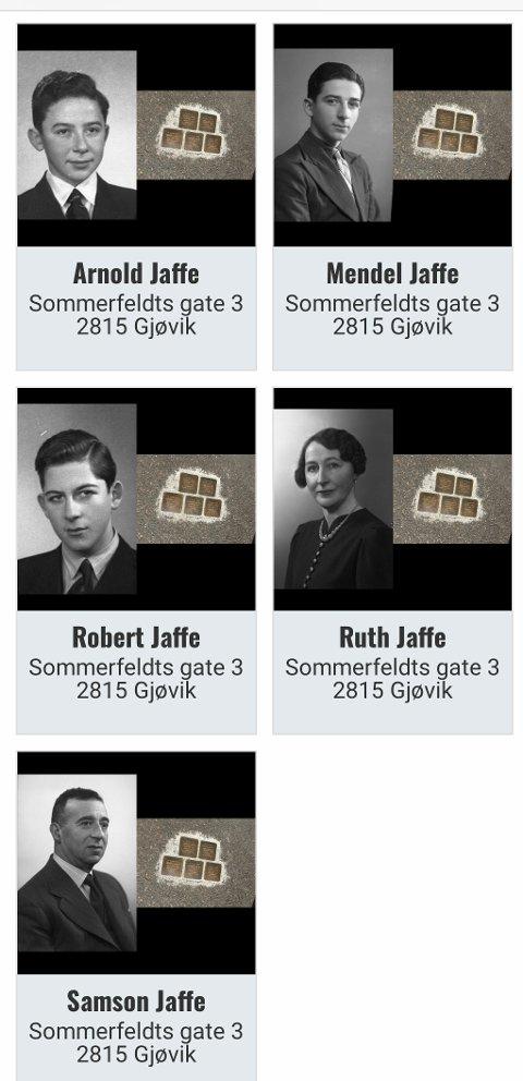 DEPORTERT: Familien Jaffe i Gjøvik var blant de 773 jødene som ble deportert fra Norge under andre verdenskrig.