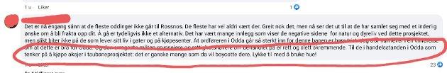 Skjermdult fra Facebook sida til Ja til bevaring av Rossnos