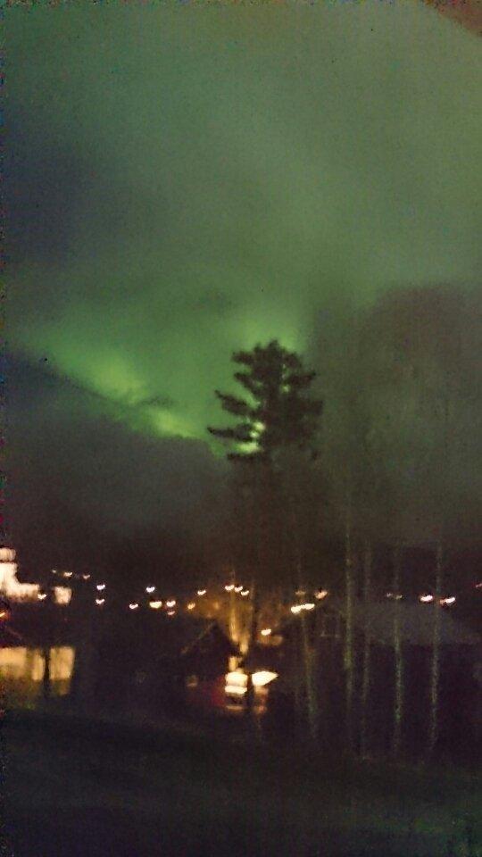 Slik så det ut søndag kveld utover Sand sentrum i Nord Odal.