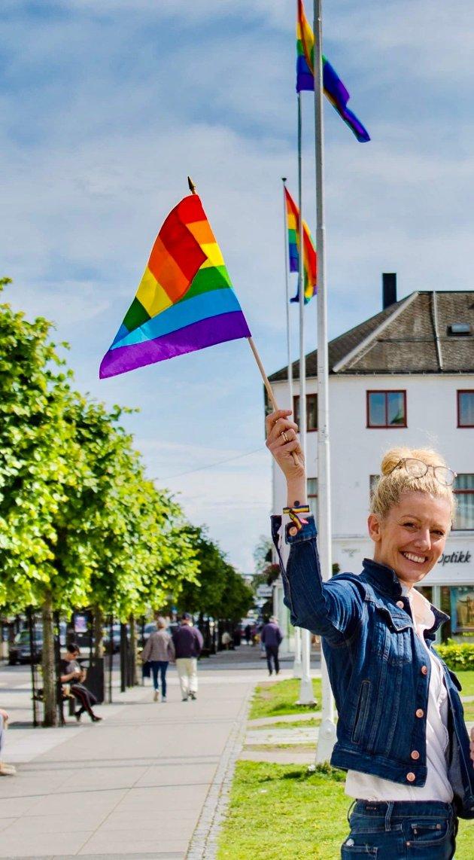 Regnbueflaggene i Byparken er et viktig tegn på at Sandefjord ønsker mangfold velkommen.