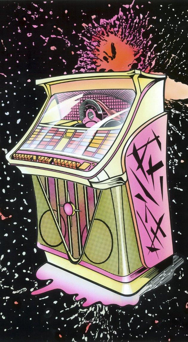 «JUKEBOX-KOMET»: Det er mye som tyder på at den spesielle jukebox-kometen fortsetter å passere over Halden-himmelen. Illustrasjon: Bilde av maleri av Volker Zibell