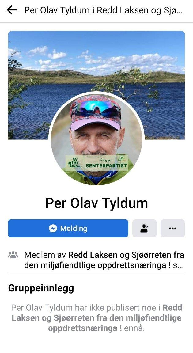 Per Olav Tyldum Facebook profil i gruppen.