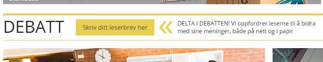Enkleste måte å delta i debatten i Fredriksstad Blad. Skriv inn leserbrevet på f-b.no/debatt