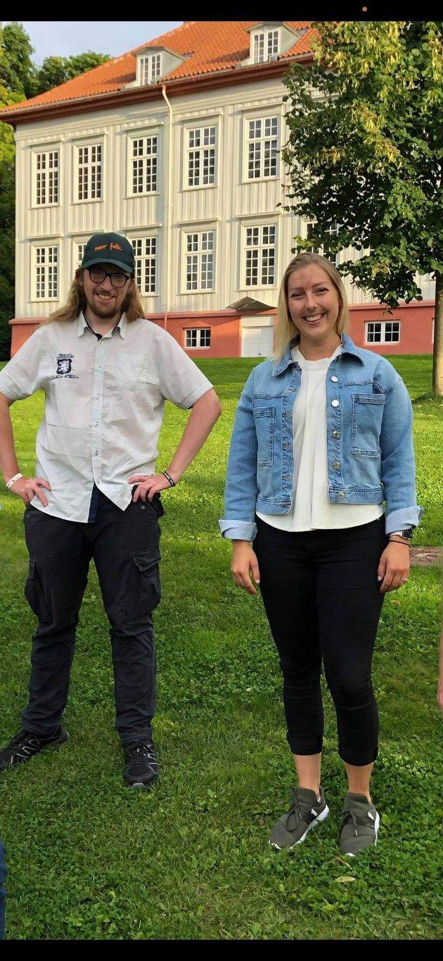 Mikkel Sibe og Andrea Skretting fra Akershus Senterungdom er fornøyde med de gjennomslagene rundt psykisk helse, som har kommet i Hurdalsplattformen