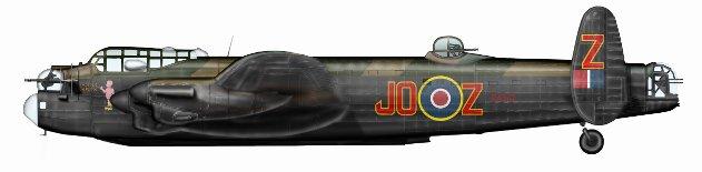 HVORFOR? Hvorfor sendte den britiske Bomber Command 107 Lancaster-maskiner til Vallø akkurat kvelden 25. april 1945, bare knappe to uker før krigens slutt? Her en profiltegning av Lancaster JO-Z som kom i kamp med den tyske nattjegeren over Iveland nord for Kristiansand.