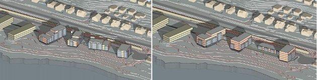 Illustrasjoner fra planforslag til blokkbebyggelse i Kroken vest.