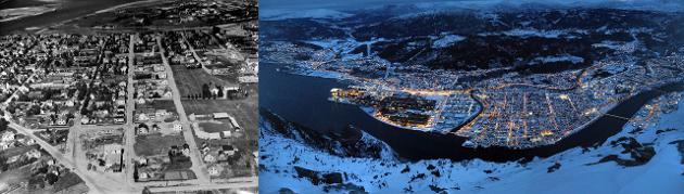 Mosjøen ca 1929 ifølge digitaltmuseum, og moderne tids Mosjøen
