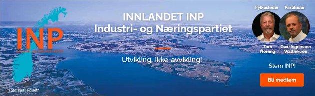 INP har det mest gjenkjennelig og flotteste symbolet for Innlandet - Mjøsa - som bakgrunnsbilde i sin partireklame.