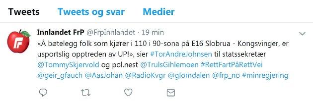 Pinlig: Tøft ut, men så trakk Innlandet Frp innholdet i tweeten og kalte det hele eksperimentering.