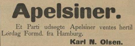 1908: Folkens, jeg kommer med nyheter. Jeg må få be om absolutt stillhet. Ventetida er over, det kommer ... appelsiner!