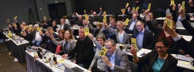 FLERTALL: 35 av representantene i fylkestinget stemte for fylkesrådets innstilling i flyplassaken. Ni stemte ikke for forslaget. Foto: Øyvind Bratt