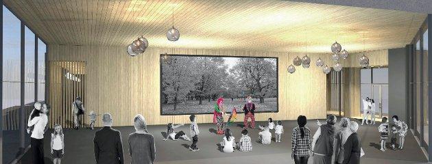 BLACKBOX: Fra innsiden i den foreslåtte kulturscenen på Tivolitomta. (Illustrasjon: PV Arkitekter)