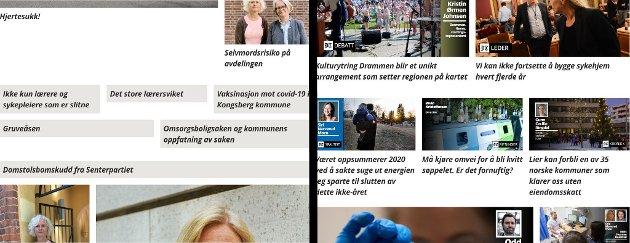 Debattsider: Laagendalsposten til venstre, Drammens Tidene til høyre.