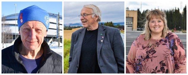ORDFØRERE PÅ HEDMARKEN: Einar Busterud (BBL), Hamar, Nils A. Røhne (Ap), Stange og Marte Larsen Tønseth (Sp), Løten.