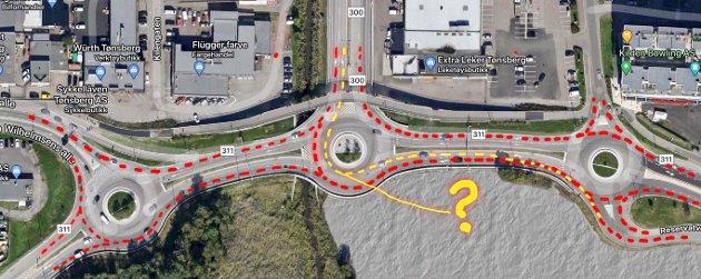 BEDRE MØNSTER: 2+-feltet i Presterødbakken skaper nye trafikkproblemer, mener Reidulf Stenbakk som her forklarer hva han mener er et bedre kjøremønster (rød linje).