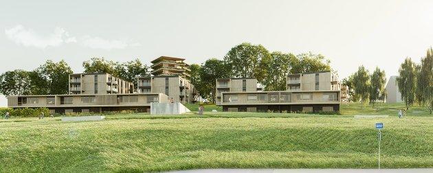 FRA VEGEN: Slik ser Nordic Office of Architecture og GOBB for seg at Bondelia Hage vil ta seg ut fra vegen nedenfor.