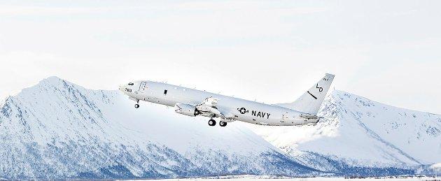 Amerikanske P8 Poseidon tar av fra Andøya flystasjon.