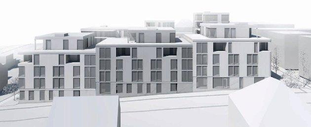 Slik blir Byhaven presentert nå sett fra Korsgata. Blokkene blir lavere, men det framstår som en vegg. (Foto: Mad arkitekter)