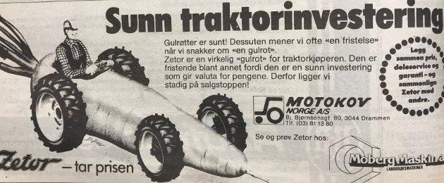 Denne reklamen om gulrot-traktoren var publisert i Avisa Nordhordland på 80-talet.