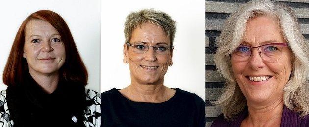 Benedicthe Lyngås (Krf) og Tove Øygarden (Høyre) og Bente Torunn Brekke (Frp)