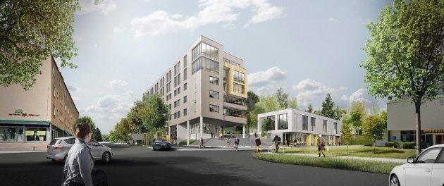 INGEN GAVE: Innsenderen oppfatter ikke hotellplanene i Byparken som en gave til byens innbyggere. Illustrasjon: Link Arkitektur