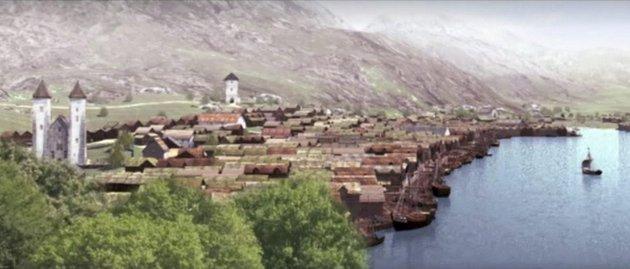 –  Den kompakte begyggelsen i Bjørgvin gjør det naturlig å tro at Mannen med ljåen hadde en greiere slått her enn andre steder, skriver Erling Gjelsvik i del to av serien om Svartedauden. Illustrasjon: Arklion