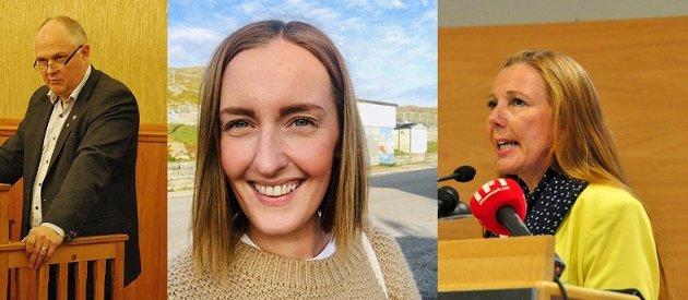 Kari Lene Olsen, Stine-Mari Strifelt og Kjell Valter Sivertsen, kommunestyregruppe til Nordkapp AP.