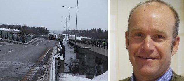 MINNER OM: Fylkesberedskapssjef Jan Helge Kaiser trekker fram Skjeggestadbrua når har argumenterer for sitt syn i saken om fastlandsforbindelsen.