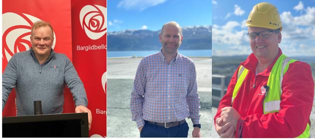 Fylkesrådsleder Bjørn Inge Mo (AP), Runar Sjåstad 1.kandidat Finnmark Arbeiderparti og Nils Ole Foshaug 2.kandidat Troms Arbeiderparti.
