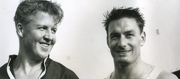 SUPERDUO: Sverre Strandli (til venstre) var først Oddvar Kroghs forbilde, så hans læremester og til slutt den tøffeste konkurrenten. Sammen var de SILS superduo på 1950- og 60-tallet. foto: privat